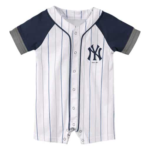 New York Yankees Baby White Navy Pinstripe Button Up Romper Coverall