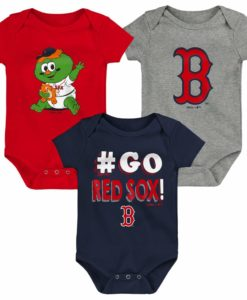 Boston Red Sox Baby 3 Pack Navy Red Onesie Creeper Set