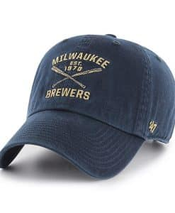 Milwaukee Brewers 47 Brand Navy Crossing Bats Clean Up Adjustable Hat