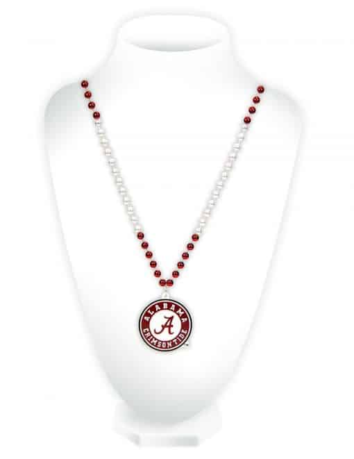 Alabama Crimson Tide Mardi Gras Beads with Medallion