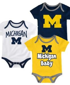 Michigan Wolverines Baby Navy Yellow White 3-Pack Creeper Set
