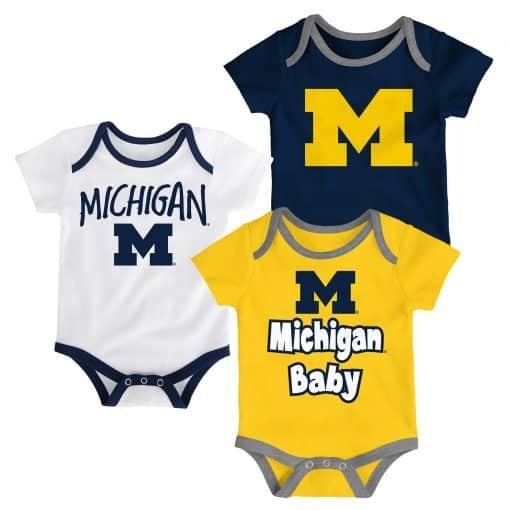 Michigan Wolverines Baby Navy Yellow White 3-Pack Creeper Set