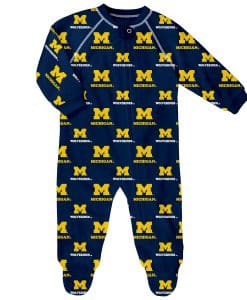 Michigan Wolverines Baby Navy Raglan Zip Up Sleeper Coverall