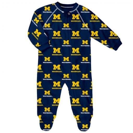 Michigan Wolverines Baby Navy Raglan Zip Up Sleeper Coverall