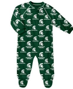 Michigan State Spartans Baby Green Raglan Zip Up Sleeper Coverall