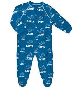 Detroit Lions Baby Blue Raglan Zip Up Sleeper Coverall