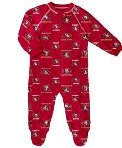San Francisco 49ers Baby Red Raglan Zip Up Sleeper Coverall