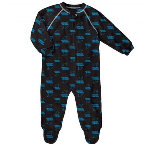 Carolina Panthers Baby Black Raglan Zip Up Sleeper Coverall
