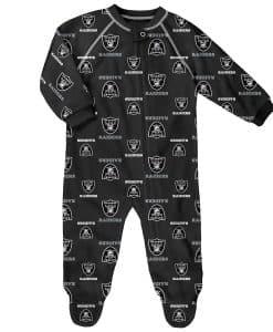 Oakland Raiders Baby Black Raglan Zip Up Sleeper Coverall