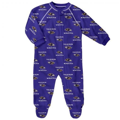Baltimore Ravens Baby Purple Raglan Zip Up Sleeper Coverall
