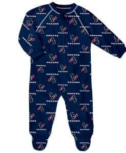 Houston Texans Baby Navy Raglan Zip Up Sleeper Coverall