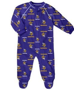 Minnesota Vikings Baby Purple Raglan Zip Up Sleeper Coverall
