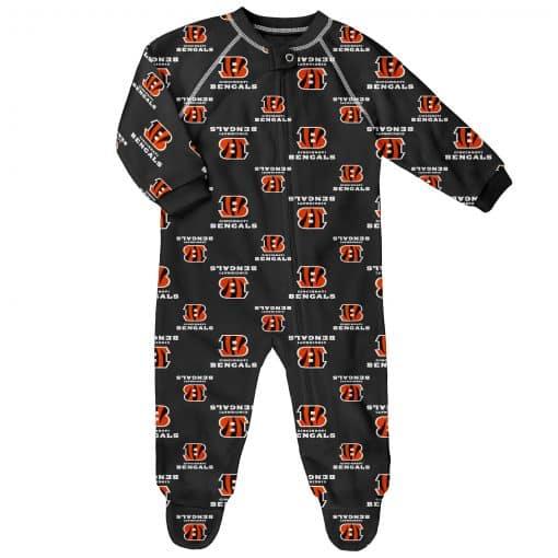 Cincinnati Bengals Baby Black Raglan Zip Up Sleeper Coverall