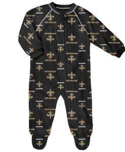 New Orleans Saints Baby Black Raglan Zip Up Sleeper Coverall