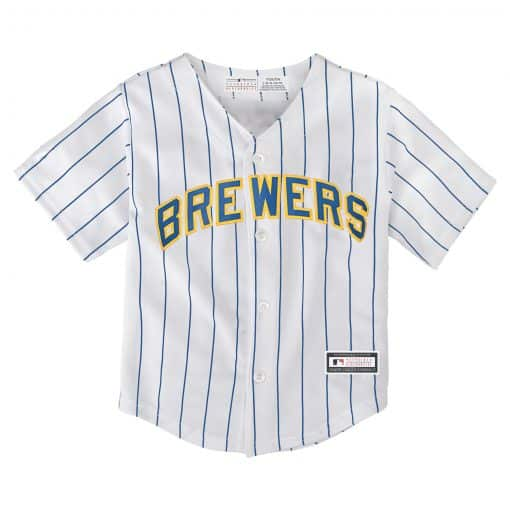 Milwaukee Brewers Baby Majestic White Classic Pinstriped Jersey