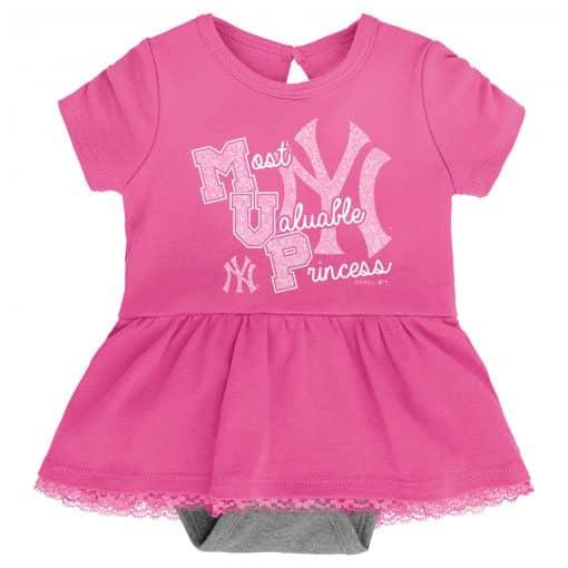 New York Yankees Baby Girls Pink MVP Princess 3 Piece Creeper Set