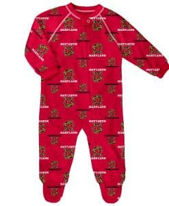 Maryland Terrapins Baby Red Raglan Zip Up Sleeper Coverall