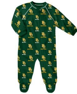 Baylor Bears Baby Green Raglan Zip Up Sleeper Coverall