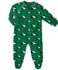 North Dakota Fighting Sioux Baby Green Raglan Zip Up Sleeper Coverall