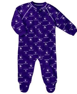 Northwestern Wildcats Baby Purple Raglan Zip Up Sleeper Coverall