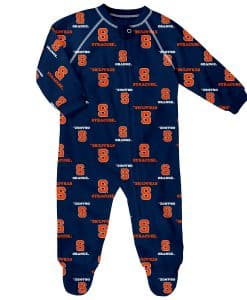 Syracuse Orange Baby Navy Raglan Zip Up Sleeper Coverall