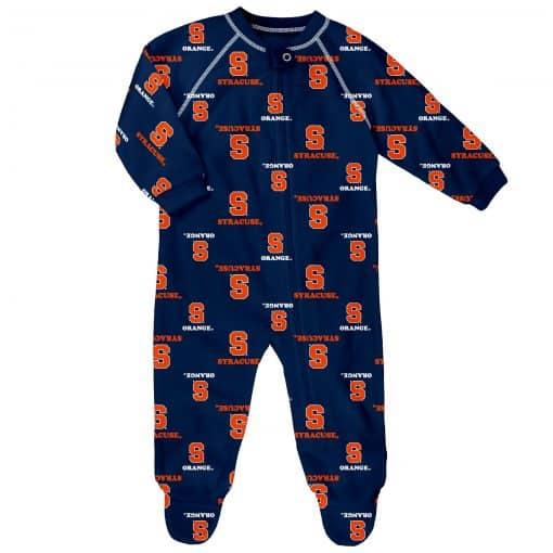Syracuse Orange Baby Navy Raglan Zip Up Sleeper Coverall