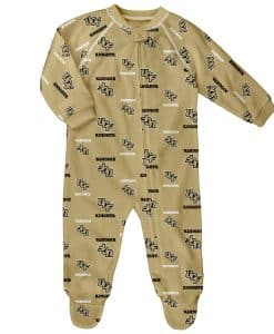 Central Florida Knights Baby UCF Metallic Gold Raglan Zip Up Sleeper Coverall