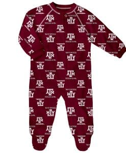 Texas A&M Aggies Baby Maroon Raglan Zip Up Sleeper Coverall