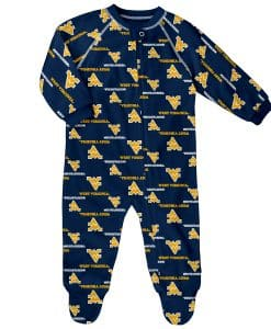 West Virginia Mountaineers Baby Navy Raglan Zip Up Sleeper Coverall