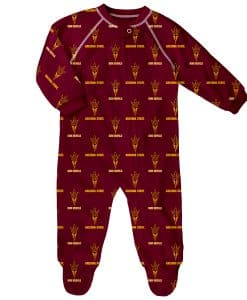 Arizona State Sun Devils Baby Burgundy Raglan Zip Up Sleeper Coverall
