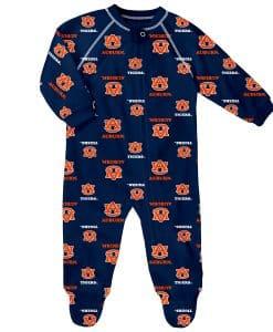 NCAA College Baby Raglan Zip Up Sleeper Coveralls