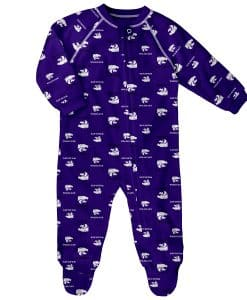 Kansas State Wildcats Baby Purple Raglan Zip Up Sleeper Coverall