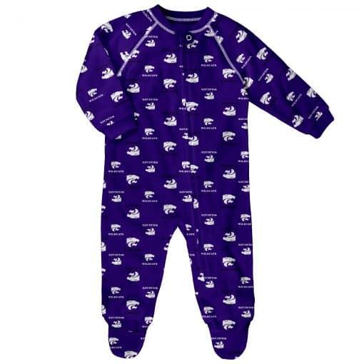 Kansas State Wildcats Baby Purple Raglan Zip Up Sleeper Coverall