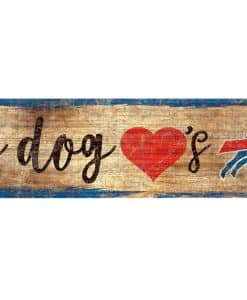 "My Dog Loves Buffalo Bills 6""x12"" Wood Bone Sign"