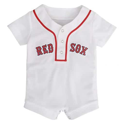 Boston Red Sox Baby White Button Up Jersey Romper Coverall