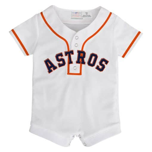 Houston Astros Baby White Button Up Jersey Romper Coverall