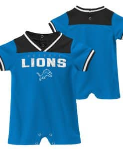 Detroit Lions Baby Blue Button Up Romper Coverall
