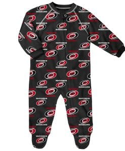 Carolina Hurricanes Baby Black Raglan Zip Up Sleeper Coverall