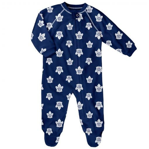 Toronto Maple Leafs Baby Royal Blue Raglan Zip Up Sleeper Coverall