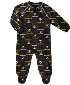 Pittsburgh Penguins Baby Black Raglan Zip Up Sleeper Coverall