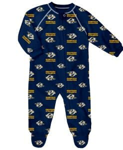 Nashville Predators Baby Navy Raglan Zip Up Sleeper Coverall