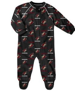 Arizona Coyotes Baby Black Raglan Zip Up Sleeper Coverall