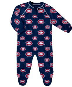 Montreal Canadiens Baby Navy Raglan Zip Up Sleeper Coverall