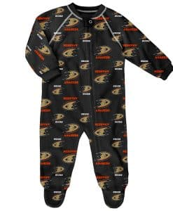 Anaheim Ducks Baby Black Raglan Zip Up Sleeper Coverall