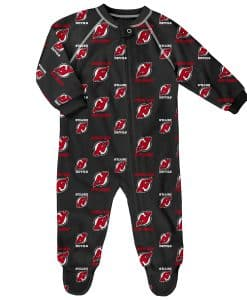 New Jersey Devils Baby Black Raglan Zip Up Sleeper Coverall