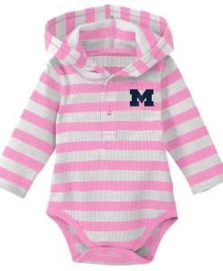 Michigan Wolverines Baby Girls Pink Hooded Onesie Creeper