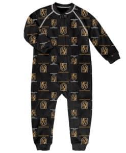 Las Vegas Golden Knights Toddler Black Raglan Zip Up Sleeper Coverall