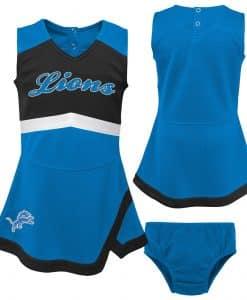 Detroit Lions Baby Girls Blue Cheer Jumper Dress