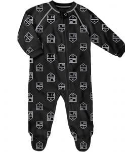 Los Angeles Kings Baby Black Raglan Zip Up Sleeper Coverall