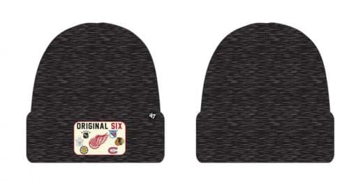 Original Six 47 Brand Black Heathered Cuff Knit Beanie Hat